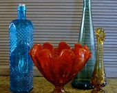 Striking Vintage Glassware Set of Four in Brilliant Colors