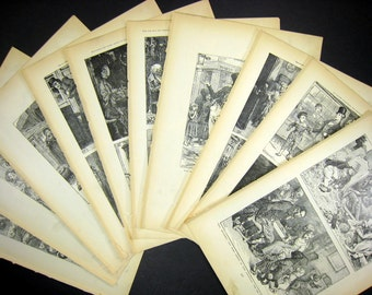 20+ Victorian Illustrations - Dickens Characters for Collage - Decoupage - Scrapbooking - authentic engravings ca 1900