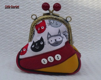 retro purse yellow and red leather and fabric cats