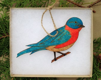 Eastern Bluebird Engraved Wood Ornament