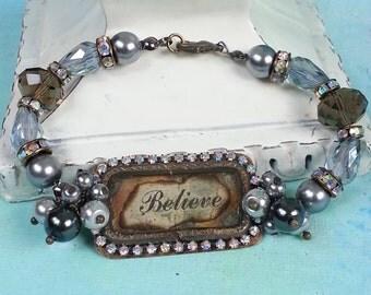 Mixed media bracelet//Handmade mixed media Bracelet//Ice resin Bracelet//soldered handmade bezel//handmade bezel//handmade art jewelry//