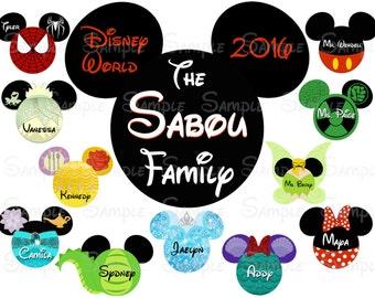 Fab Five Disney Custom DIY Printable Image for Iron On Transfer or Door Magnet Disney Family Vacation
