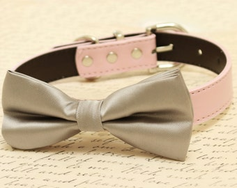Gray Dog Bow Tie -Bow attached to dog collar, Pet wedding accesory, dog lovers, Gray wedding accessory, dog birthday gift, dog collar