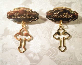 2 Goldplated Mother Pins with Cross