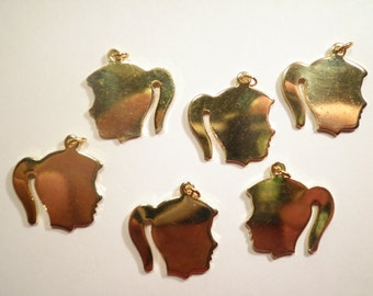 6 Goldplated Girl Head Charms