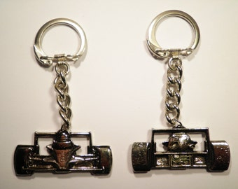 2 Silver Plated Indy Race Car Key Chains