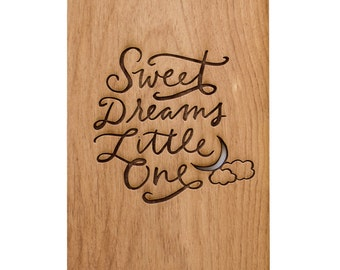 Sweet Dreams Little One - Wood Card, Nursery Decor, Baby Shower