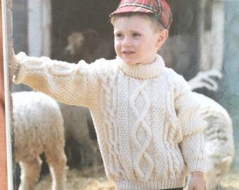 "UK/EU SELLER Vintage Childs/Enfants pdf Aran knitting pattern Polo Neck Sweater cables & diamond panel. Fits Chest 24-32"" (60-80cms)"