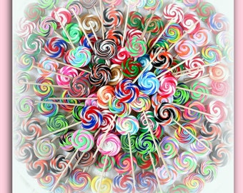 15 Mini Fake Swirl Lollipops For Fake Cupcakes Hair Bows Jewelry Accessory Decorations Dolls Grab bag Clay Lollipops