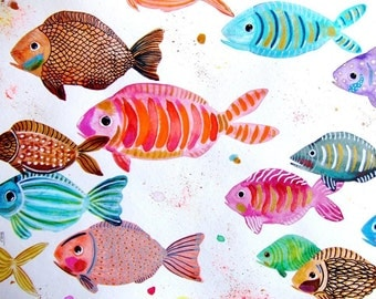 Fishes Painting Fish Art Fishes Wall Art Fishes Fine Art - Original Watercolor Animal Ocean Decor - Fishes - Fish - Home Decor Nature - Art