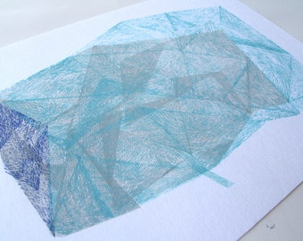 Iceberg. original linocut monotype geo print by Paulina R. Vårregn, abstract geometric print
