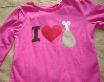 Custom Long-Sleeved Pink I Heart Turkey Toddler Shirt - Thanksgiving