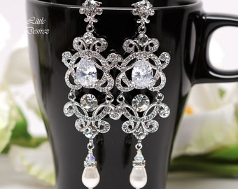 Crystal Chandelier Earrings Wedding Jewelry Statement Bridal Jewelry Victorian Earrings Cubic Zirconia Jewelry Rhinestone Jewelry ZARA