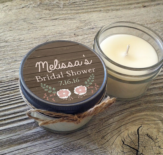 Set of 12 - 4 oz Personalized Bridal Shower Candles//Mason Jar // Barnwood//Shabby Chic//Rustic Wedding//Wedding Favors//Candle Favor