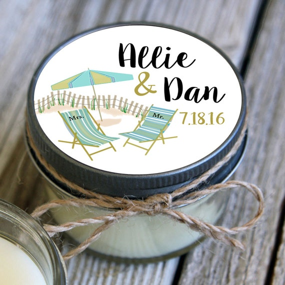 12 - 4 oz Wedding Favor//Umbrella Beach Wedding Favor//Soy Candle Favor//Personalized Bridal Shower Favor//Destination Favors//