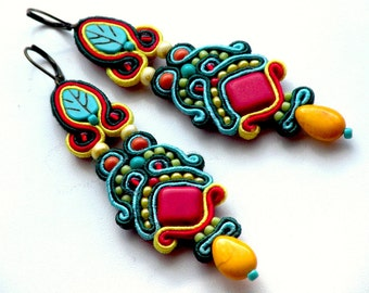 earrings-soutache-Reggae-boho-Soutache Jewelry - Hand Embroidered