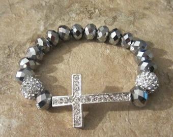 Silver Sideways Cross Bracelet. Cross Bracelet.