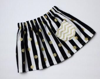 Black & White w/ Gold Polka Dots Custom Boutique Girls Twirl Skirt w/pocket, Toddler Girls, School, Made to order:  Newborn to 5/6 Girls