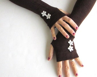 Gifts For Her, Gifts For Women,  Arm Warmers- Fingerless Knit Gloves-  Womens Gloves