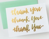 set of 5 gold foil letterpress thank you cards - hand-lettered casual calligraphy