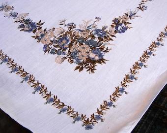 Vintage tablecloth - 1960s or 1970s - linen-like cotton - blue beige floral