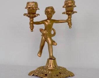Vintage Mid Century Cast Metal Cherub Angle Candelabra Gold Tone Candlestick Holder - Victorian Art Nouveaux Style Decor - Romantic Elegant