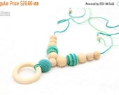 25% off Organic Teething necklace with wooden ring pendant, Breastfeeding accessory, Nursing mom necklace