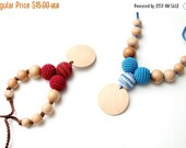 25% off Organic Cotton Nursing necklace - Triple Teething necklace with pendant CHOOSE YOUR COLOR