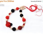 SALE 25% off Nursing Juniper necklace / Breastfeeding Teething necklace, Teething amigurumi toy Ladybug