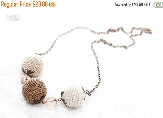 SALE 25% off Crochet Bead Necklace in beige, cream, mocha. Fresh fall trend colors.