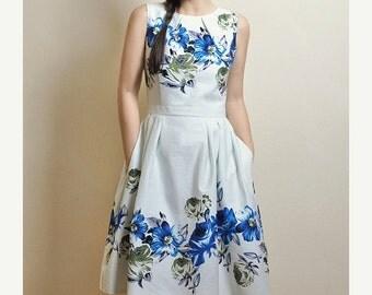 SALE Blue Floral dress, Cotton-satin dress, Made to Order