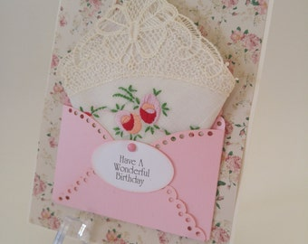 Lovely Pink Rose Vintage Embroidered Handkerchief Lace Friend Birthday Wedding Graduation Friendship Thinking Of You Hanky Keepsake Card