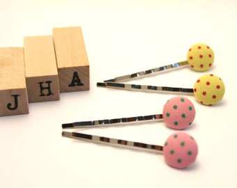 Everyday/Children/Girls/hair clips - Button bobby pins
