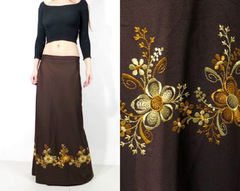 Vintage Brown Embroidered Maxi Long Bohemian Skirt