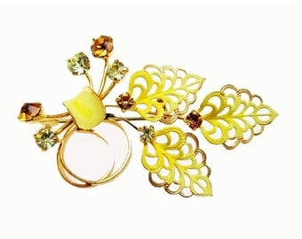 Leaf Flower Brooch Austria Yellow Rhinestone Mid Century pin