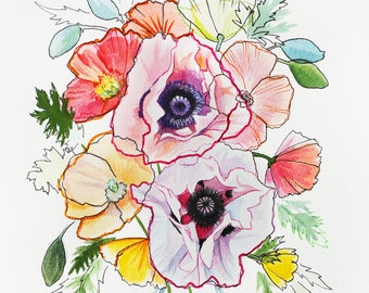 "Poppies II - 8x10"" Print"