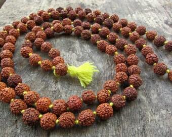 Rudraksha Mala Necklace Yoga Necklace 108 beads Meditation Necklace Healing Buddhism Shiva Beads Indian Seeds Holy Meads Prayer Beads