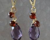 Amethyst, Garnet Earrings in Gold, Gift for Her, Purple, Red Gemstone Earrrings