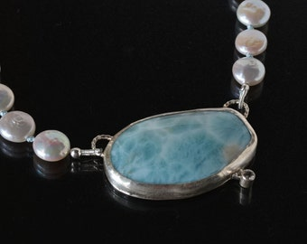 Larimar in Sterling Silver Necklace with White Freshwater Pearls- Sky Blue Necklace in Silver- Ocean Color Gemstone Necklace with Pearls
