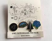 Twin Peaks inspired Owl Cave Enamel pin pack replica fanDavid Lynch Cooper Audrey Laura Palmer Damn Fine Coffee Owl 90s tv-show
