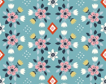 Birch Organic Fabrics WildLand Flowerbed Blue by Miriam Bos Navy Blue