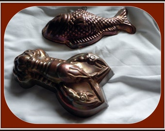 FOR CHARITY:  Copper top molds....Lobster and Fish....Vintage for Decorating or Use (Carefully)