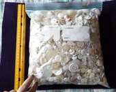 huge lot vintage white and off white buttons