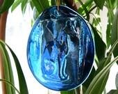 Cobalt Blue Egyptian Cat Glass Sun Catcher