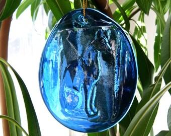 Cobalt Blue Egyptian Cat Glass Sun Catcher - Bastet