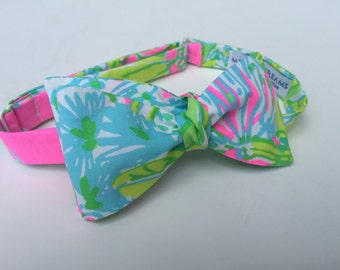 "Lilly Pulitzer ""Coconut Jungle"" Fabric Bow Tie"