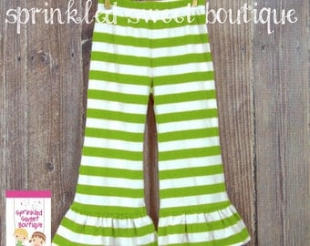 SALE & Ready To Ship 5t  Big Ruffle Green White Stripe Girls Pants Perfect for Christmas St. Pattys Cute Matches Applique Shirts