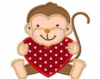 Valentines Day Love Monkey Custom Monogram Applique Shirt Girls Boys Baby First Valentines Day Shirt