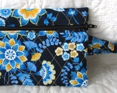 quilted zippered wristlet / travel bag / quilted bag blue paisley