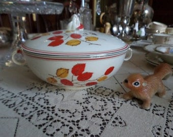 Very Rare TST-Taylor Smith Taylor Autumn-Red/Yellow Leaves/Platinum/Red Trim-CAsserole/Vegetable Serving Bowl & Lid
